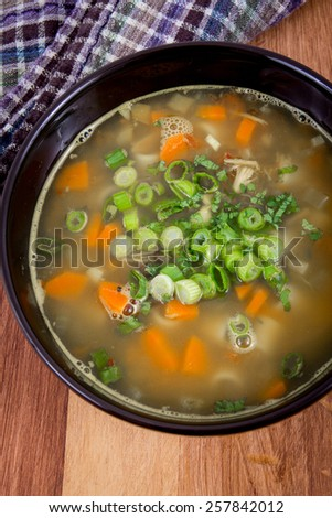 Chicken vegetable and noodle soup bowl high angle view