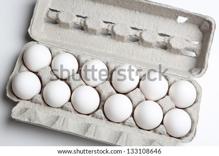 Chicken white egg top view - stock photo