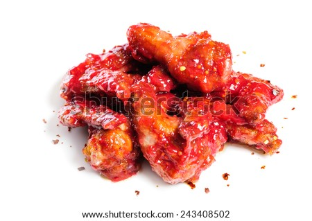 chicken wings in raspberry sauce - stock photo