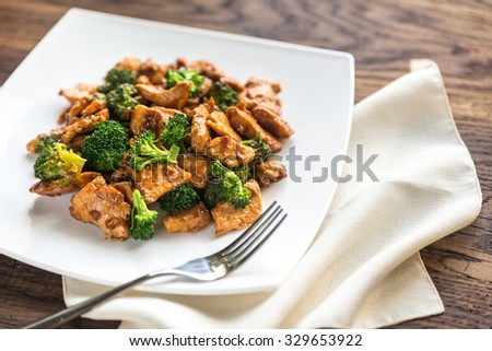 Chicken with broccoli - stock photo