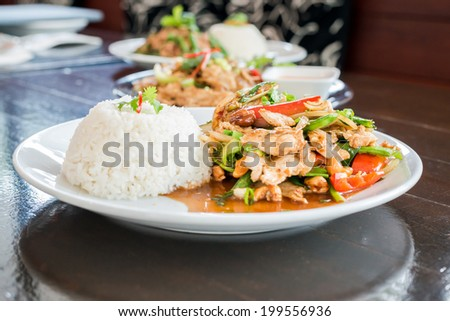 Chicken with cashew nuts, chili, capsicum and snow peas on plate - stock photo