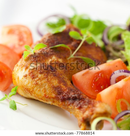 Chicken with fresh herbs and vegetables