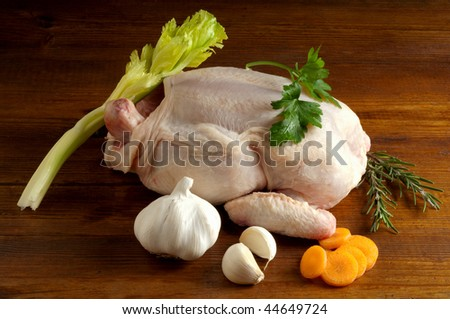 chicken with ingredients - stock photo