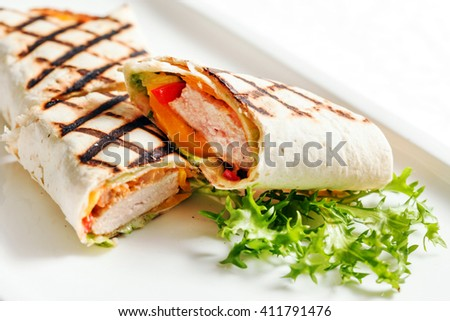 chicken wrap sandwich - stock photo