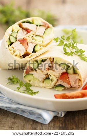 Chicken wraps - stock photo