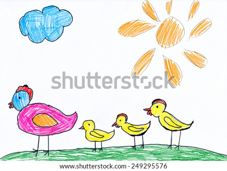 chickens family. child drawing - stock photo