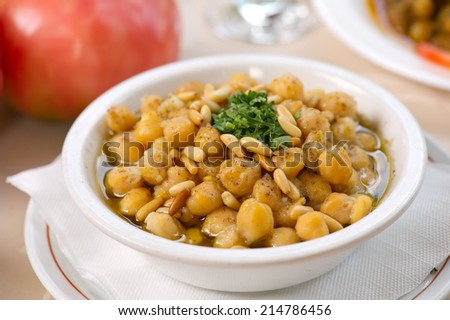 Chickpea Soup, Traditional Lebanese Chickpea - stock photo