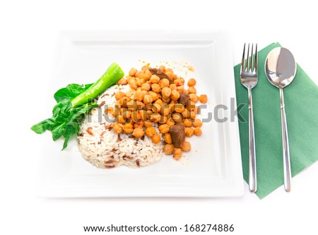 chickpeas and rice , turkish cuisine - stock photo