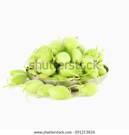 chickpeas green young pod on pure white background - stock photo