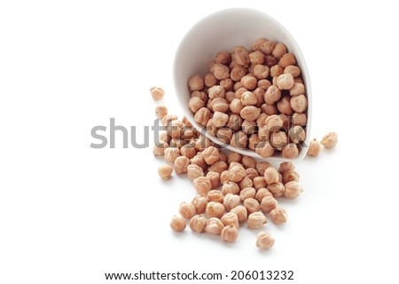 Chickpeas in a bowl  isolated on white - stock photo