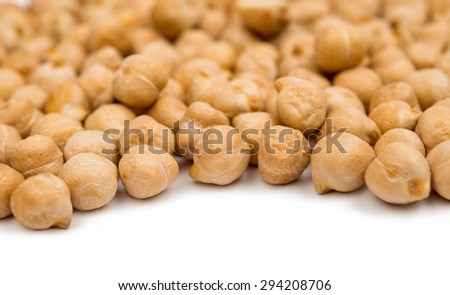 chickpeas on a white background - stock photo