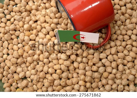 Chickpeas or Garbanzo Beans With Algeria Flag - stock photo