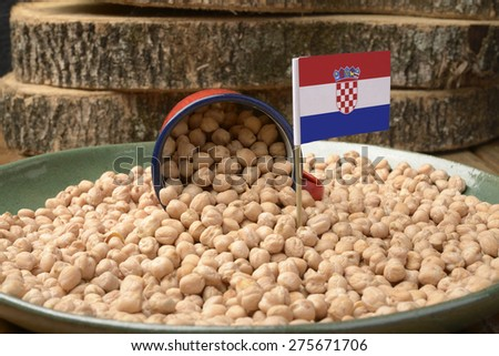 Chickpeas or Garbanzo Beans With Croatia Flag - stock photo