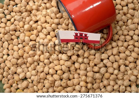Chickpeas or Garbanzo Beans With Gibraltar Flag - stock photo