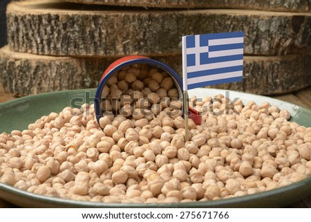 Chickpeas or Garbanzo Beans With Greece Flag - stock photo