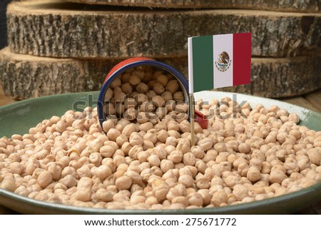 Chickpeas or Garbanzo Beans With Mexico Flag - stock photo
