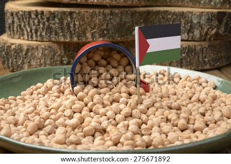Chickpeas or Garbanzo Beans With Palestine Flag - stock photo