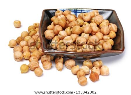 chickpeas over spoon - stock photo