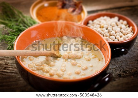 chickpeas soup on bowl, selective focus