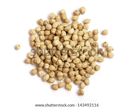 Chickpeas texture on white background