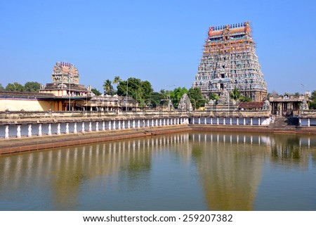 CHIDAMBARAM , INDIA -?? FEBRUARY 7 2015: Chidambaram Nataraja Temple is a Hindu temple dedicated to Lord Shiva. The temple as it stands now is mainly of the twentieth and thirteenth centuries. - stock photo