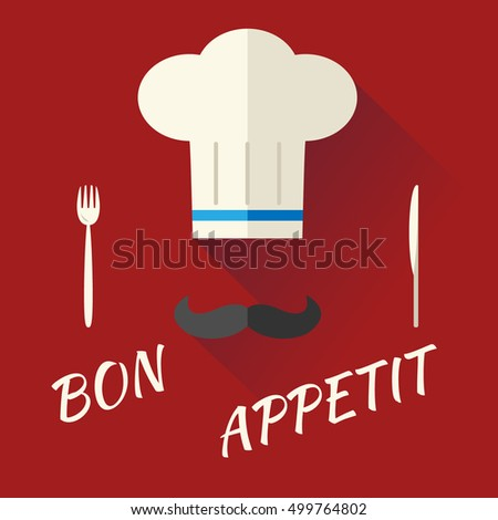 Chief Cook Symbol Toque Cuisine hat with Mustache Food Icon on Stylish Background Modern Flat Design Illustration