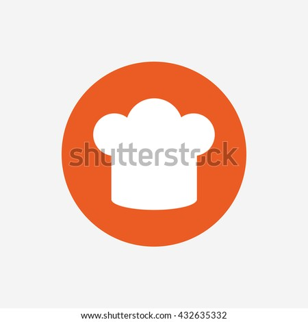 Chief hat sign icon. Cooking symbol. Cooks hat. Orange circle button with icon.