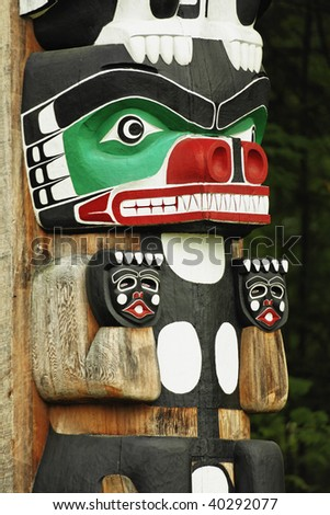 Chief Wakas totem pole. Stanley Park in Vancouver is home to six totem poles located at Brockton Point. - stock photo