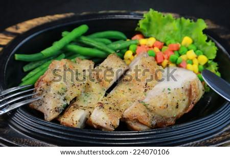 Chiken steak - stock photo