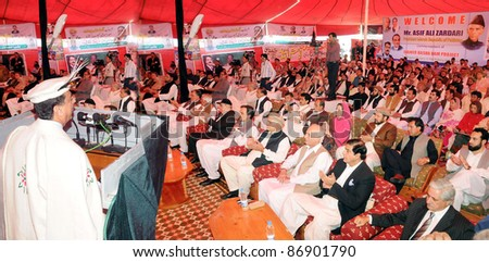 CHILAS, PAKISTAN - OCT 18: Prime Minister, Syed Yousuf Raza Gilani addresses the Ground Breaking ceremony of the Diamer Bhasha Dam held in Chilas, Pakistan on October 18, 2011.