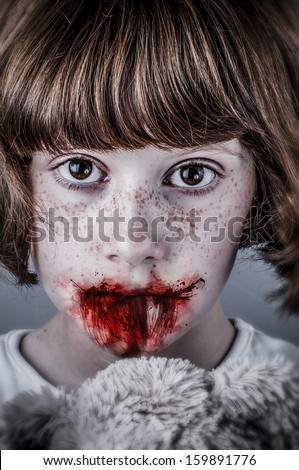 Child abuse concept, unhappy girl. Violence, despair. - stock photo