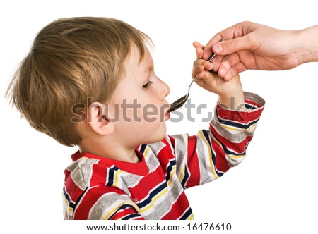 Child accepts a medicine - stock photo
