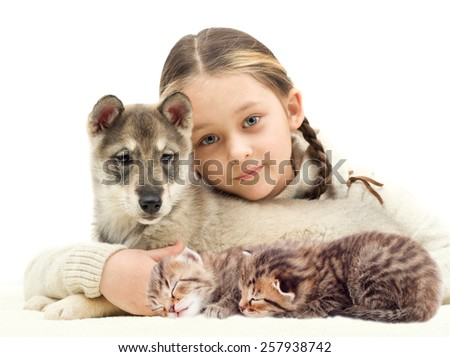 child and a puppy and kittens