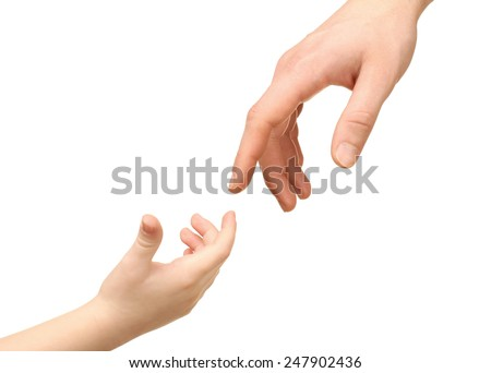 Child and father hands isolated on white - stock photo