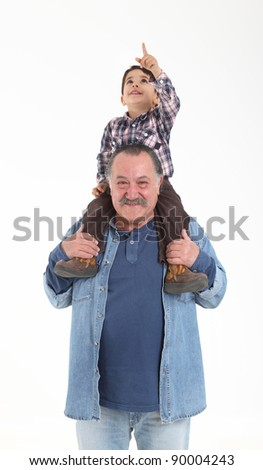 Child and grandfather stay together on white background - stock photo