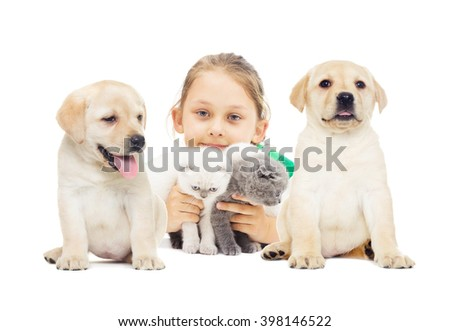 Child and kitten and puppy on a white background isolated