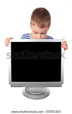 child and monitor - stock photo