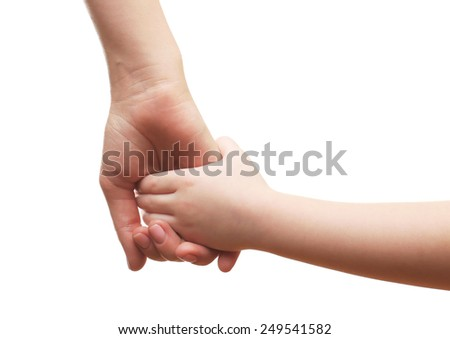 Child and mother hands isolated on white - stock photo