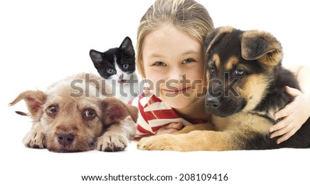 child and set pets - stock photo