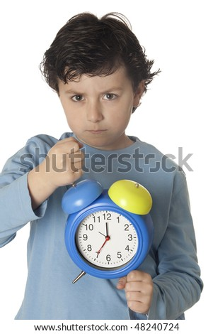 Child angry by wake up early isolated on white background - stock photo