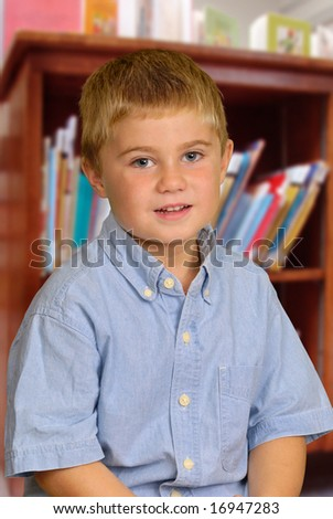 Child at Library - stock photo