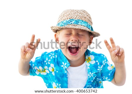 Child Blue Shirt Straw Hat Holidays Clothes Shouts Laughs Isolated White  - stock photo