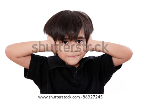 child boy covering his ears  over white background - stock photo