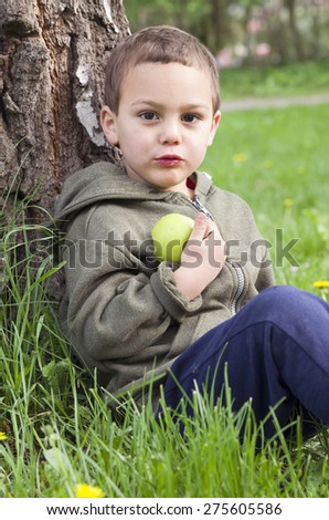 Child boy eating an apple, sitting on grass and leaning against a tree in a park in nature. - stock photo