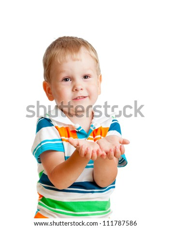 child boy reaching his hands out, isolated on white - stock photo