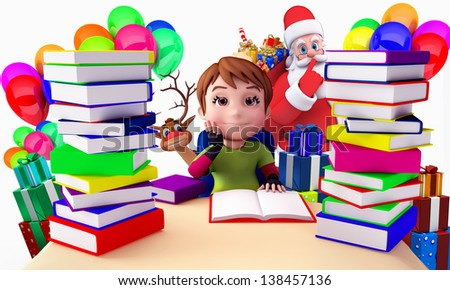 child boy with pile of books