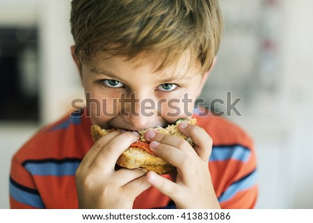 Child Children Hungry Hunger Kid Sandwich Concept - stock photo