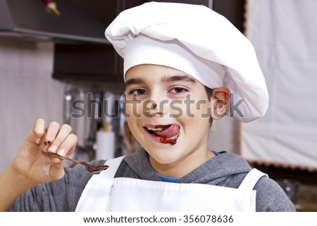 child clothes chef making cakes - stock photo