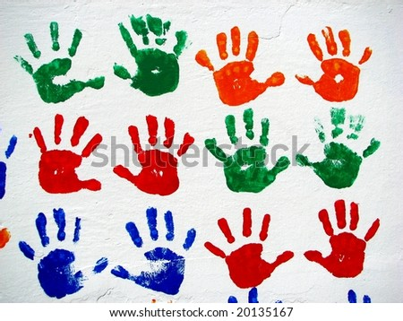 child colored hand prints