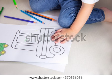 child, coloring - stock photo